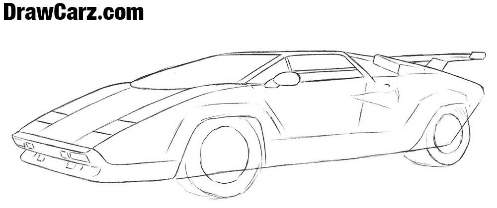 How to draw a Lamborghini Countach step realistic
