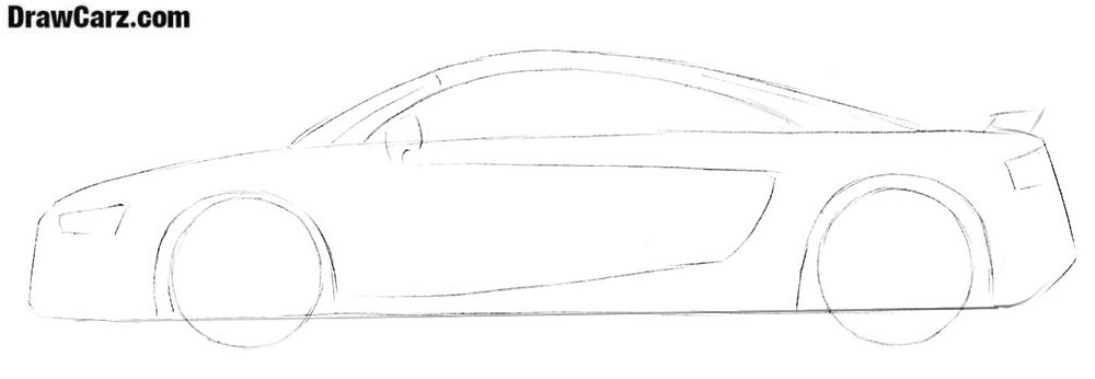 How to draw an Audi R8 step by step