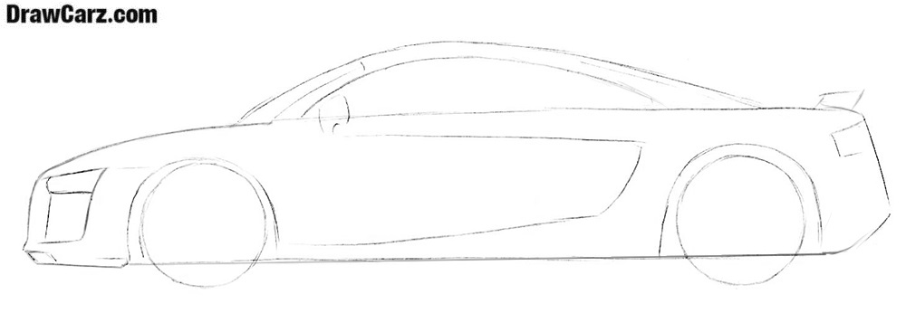 How to draw an Audi R8 easy