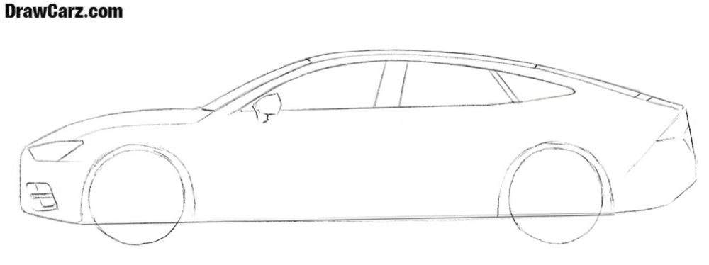 How to sketch an Audi A7 step by step