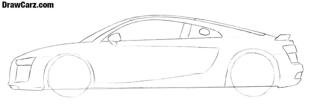 Learn how to draw an Audi R8 sports car