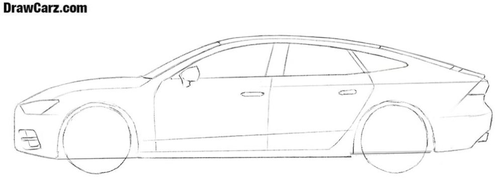 How to draw an Audi A7 car