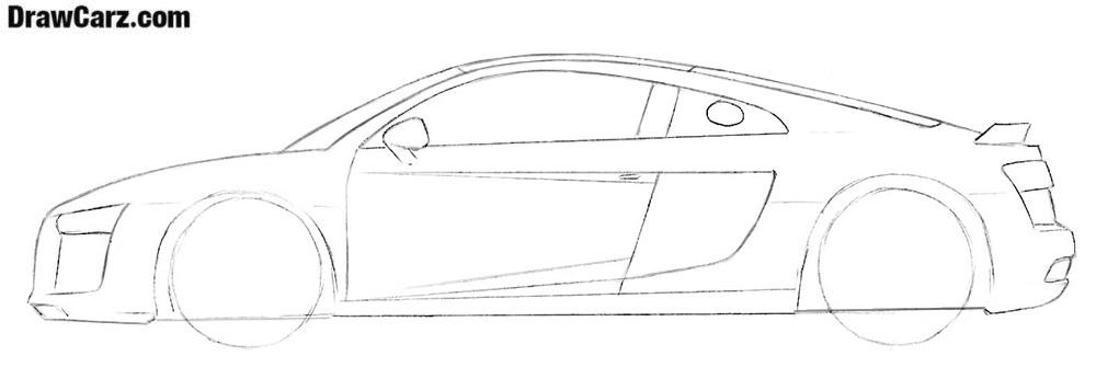 How to draw an audi r8 v10 plus