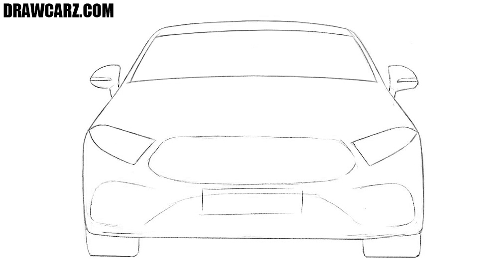 How to sketch a car from the front