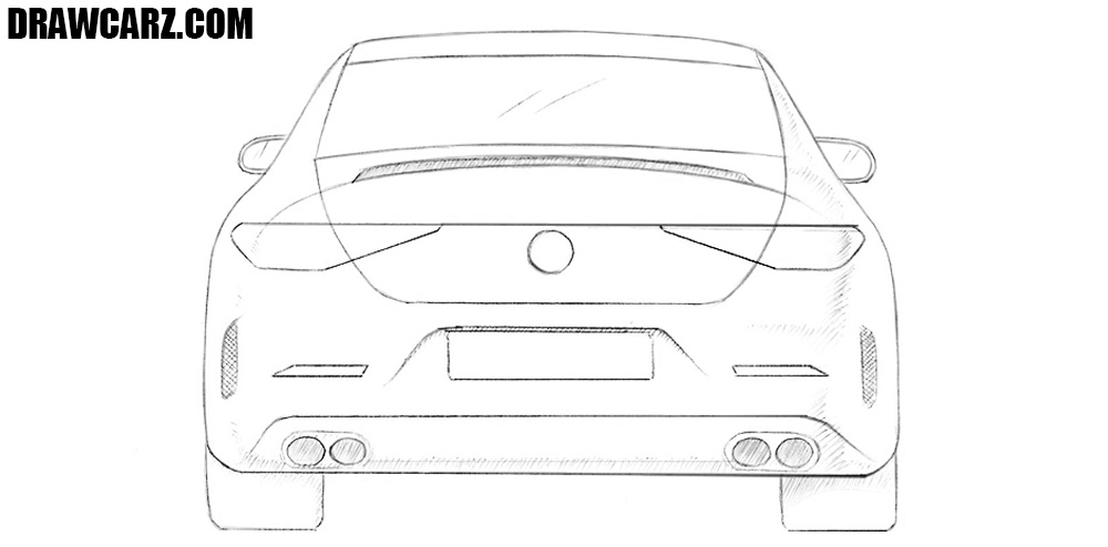 How to draw a car back view