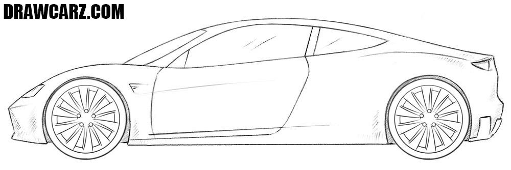 Tesla Roadster drawing