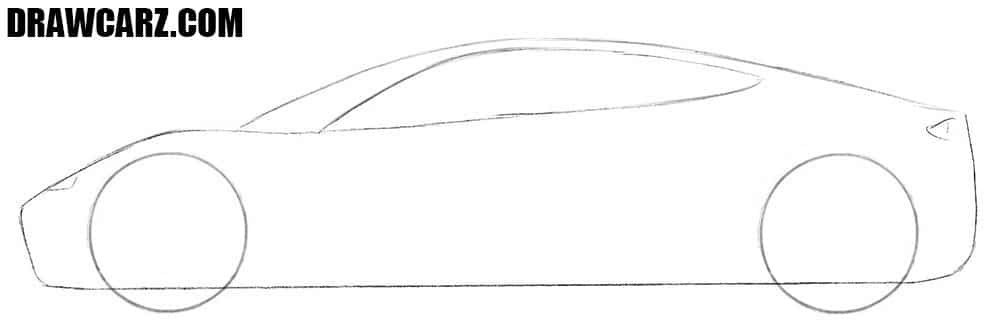 How to draw a realistic Tesla Roadster