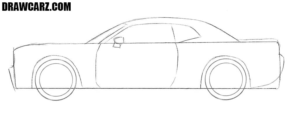 How to draw a Dodge muscle car