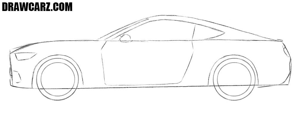How to draw a Ford Mustang muscle car