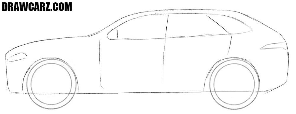 How to draw a Jaguar F Pace easy step by step