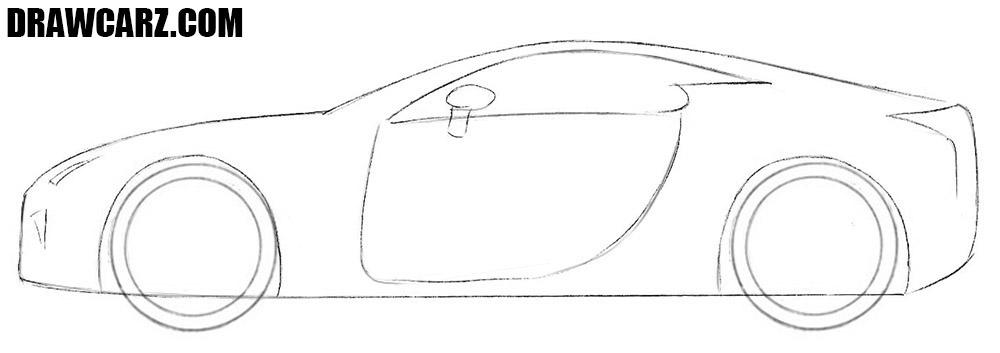 How to draw a Lexus LFA easy step by step