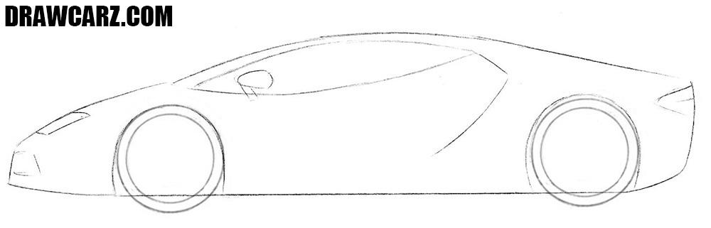 How to draw a realistic Lamborghini Centenario