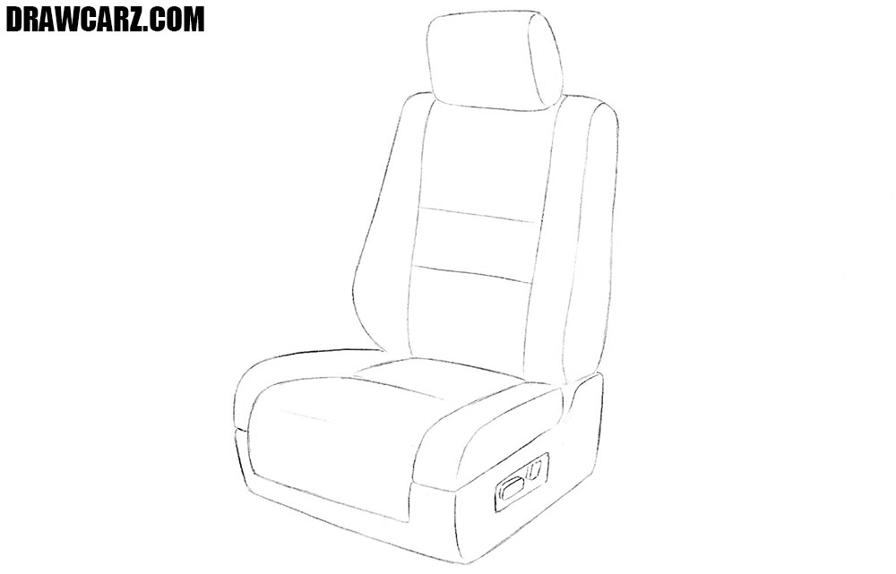 How to sketch a car seat step by step