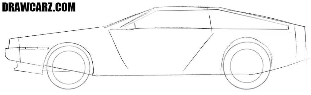 How to draw a Delorean DMC car