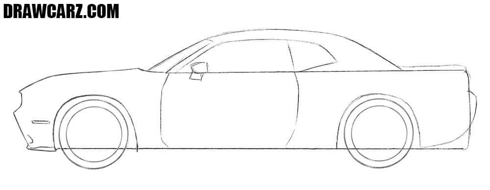 How to draw a Dodge Challenger step by step easy