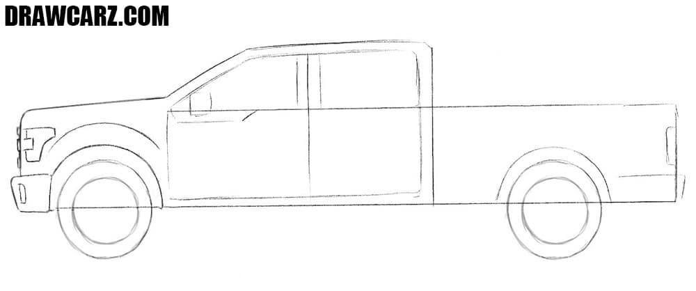 How to draw a Ford pickup