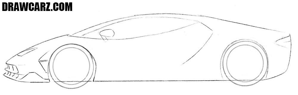 How to draw a Lamborghini Centenario easy
