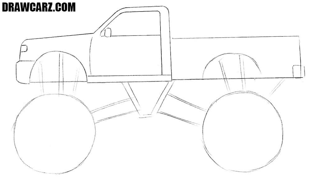 How to draw a Monster Truck for Beginners step by step