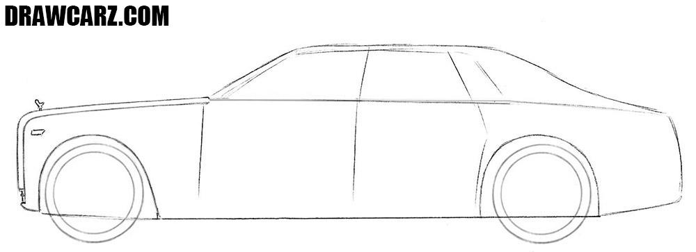 How to draw a Rolls Royce Phantom easy