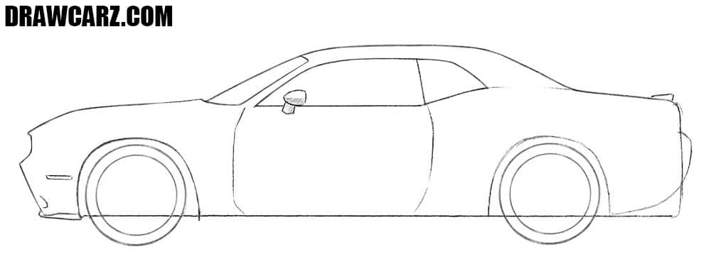 How to draw a Dodge Challenger easy