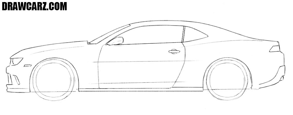 How to draw a Chevrolet Camaro easy