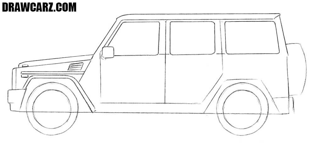 How to draw a Mercedes-Benz Gelandewagen step by step