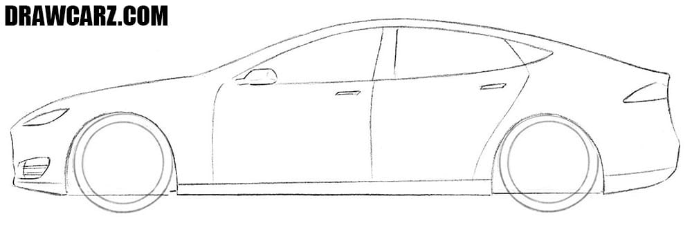How to draw a Tesla Model S step by step