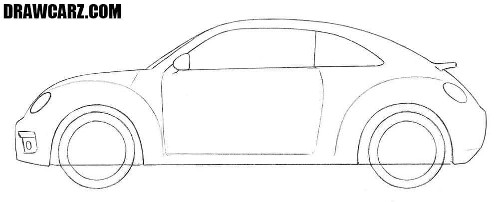 How to draw a Volkswagen Beetle for beginners