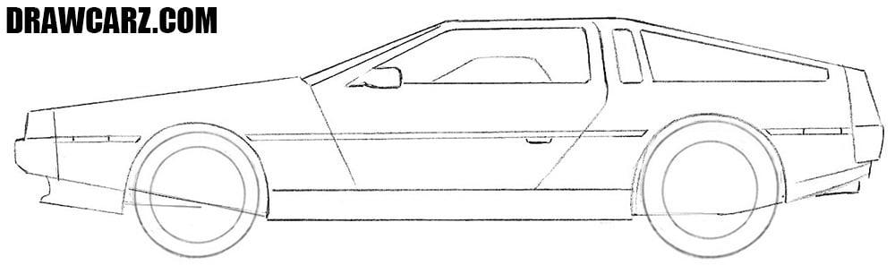 How to draw a Delorean car