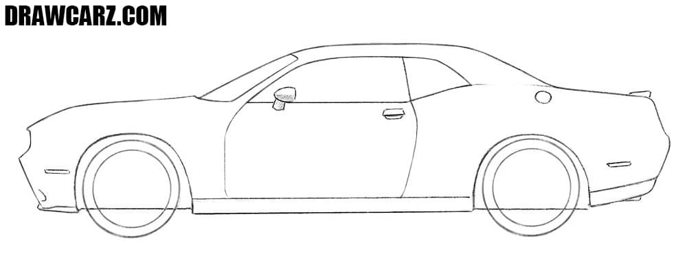 How to draw a Dodge Challenger step by step