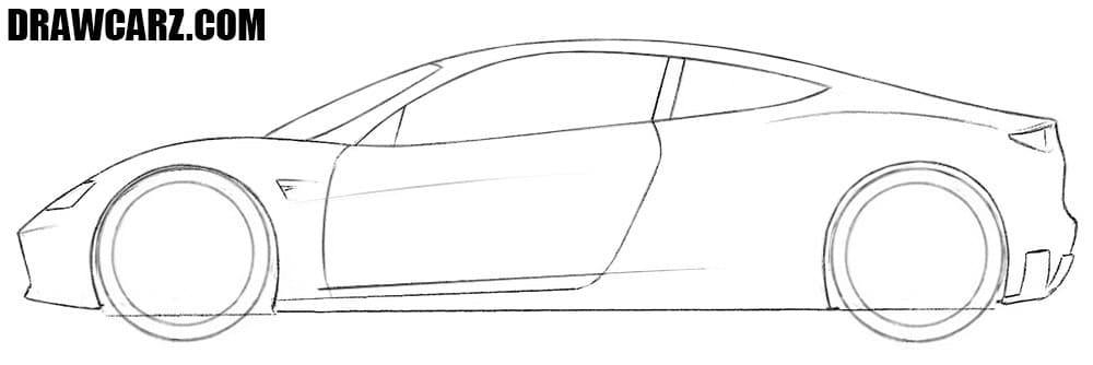 How to draw a Tesla Roadster easy