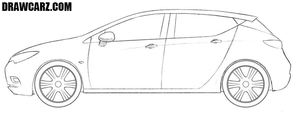 Opel Astra drawing tutorial