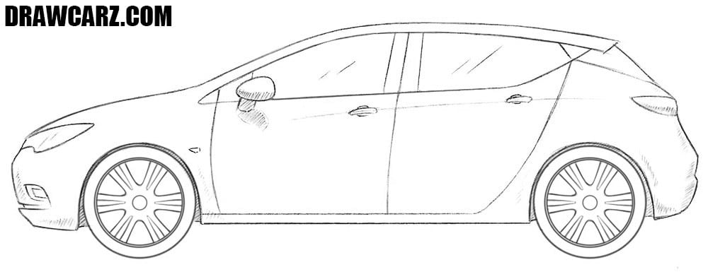 How to draw an Opel Astra