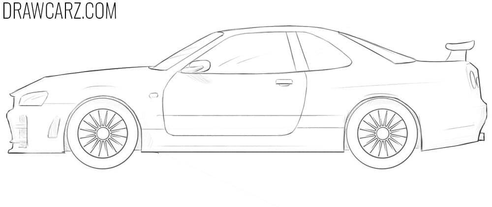 how to draw a Nissan Skyline