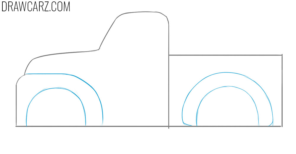 how to draw a Truck for Kids from the side