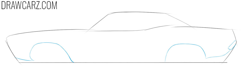 how to draw a drag car from the side