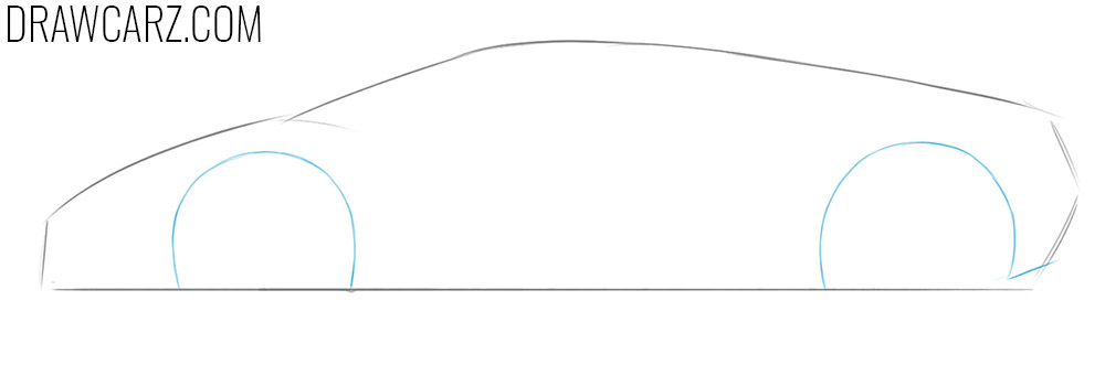 how to draw a lamborghini huracan from the side