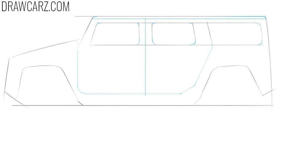 how to draw a big car step by step