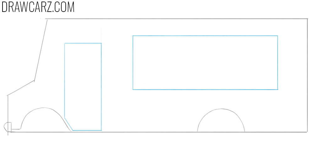 how to draw a food truck from the side