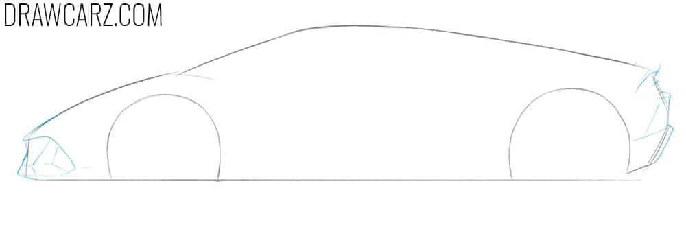 how to draw a lamborghini huracan side view
