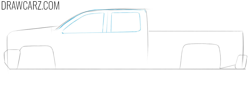 how to draw a pickup truck simple