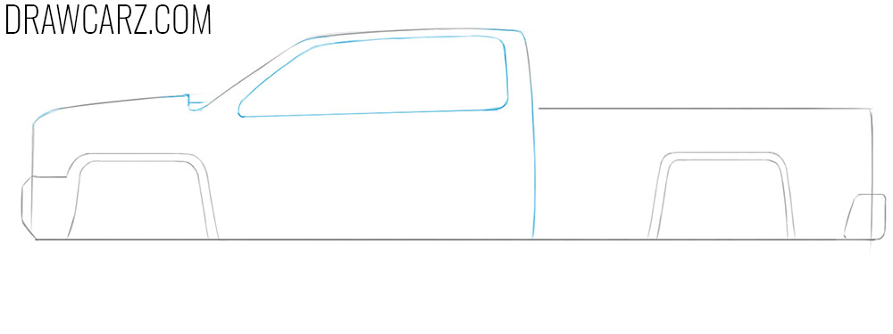 how to draw a truck easy from the side