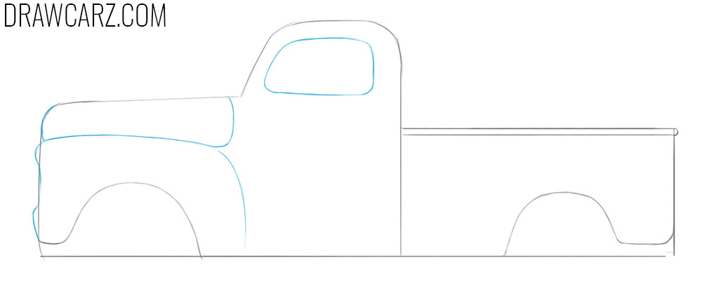 how to draw an old vintage truck