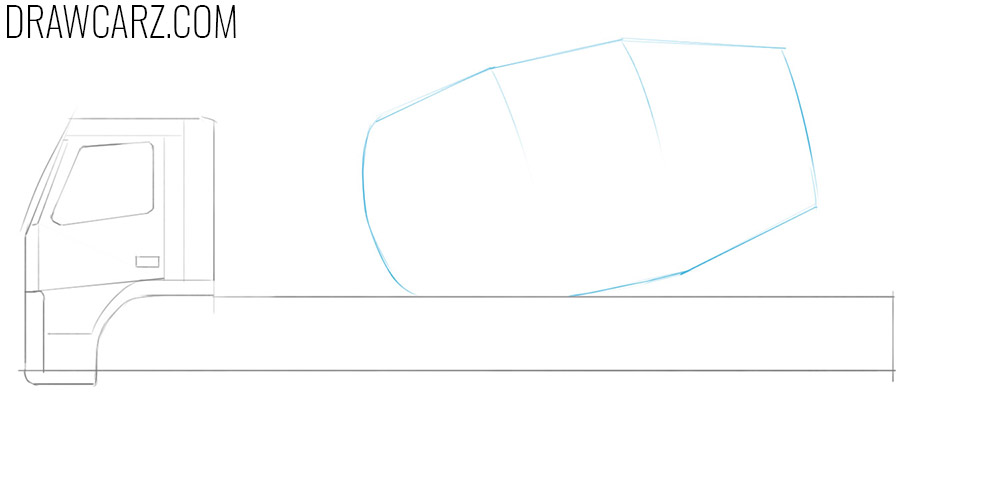 how to draw a concrete mixing truck from the side
