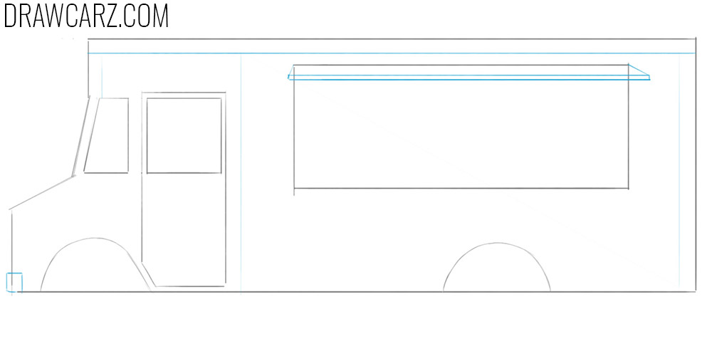 how to draw a food truck step by step