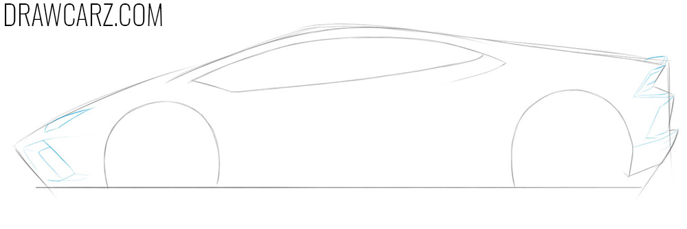 how to draw a lamborghini car from the side