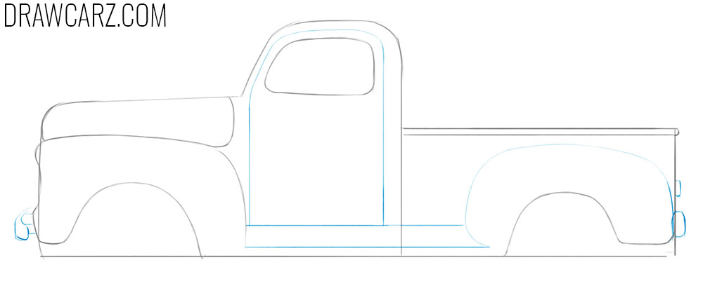 how to draw an Old Truck step by step