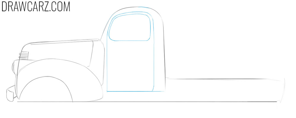 how to draw an abandoned truck step by step