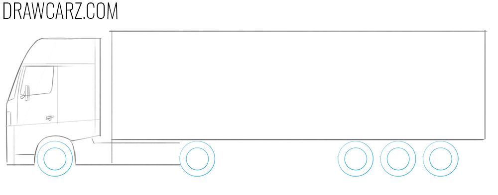 how to draw a big truck step by step