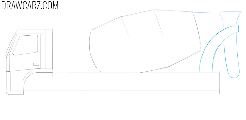 how to draw a concrete mixing truck step by step